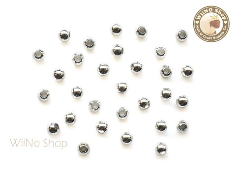3mm Silver Beads Nail Art Decoration - 10 pcs