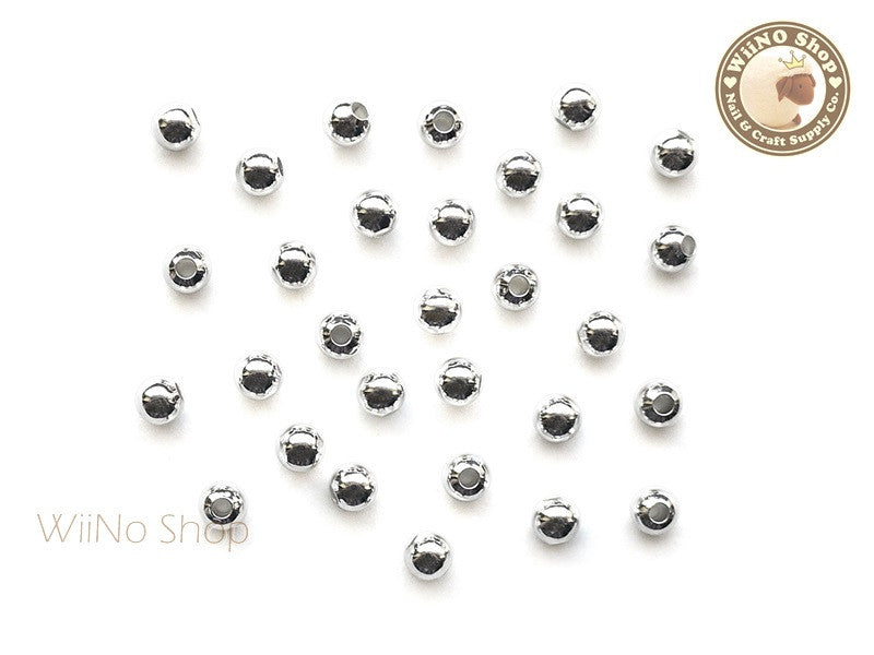 4mm Silver Beads Nail Art Decoration - 10 pcs