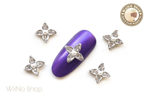 Silver Four Petal Flower Nail Metal Charm Nail Art - 2 pcs