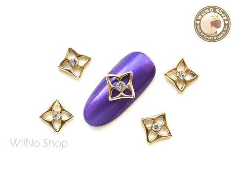 Gold Square Flower Nail Metal Charm - 2 pcs