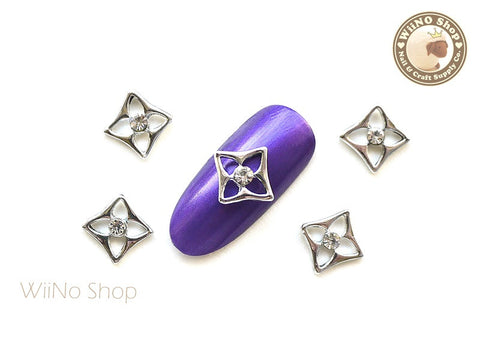 Silver Square Flower Nail Metal Charm - 2 pcs