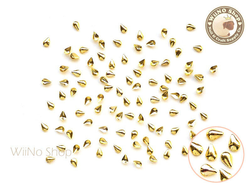 2 x 4mm Gold Mini Drop Metal Studs - 25 pcs