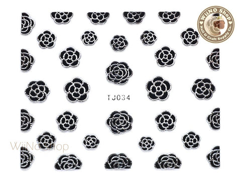 Silver Black Camellia Flower Adhesive Nail Art Sticker - 1 pc (TJ034SB)