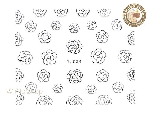 Silver White Camellia Flower Adhesive Nail Art Sticker - 1 pc (TJ034SW)