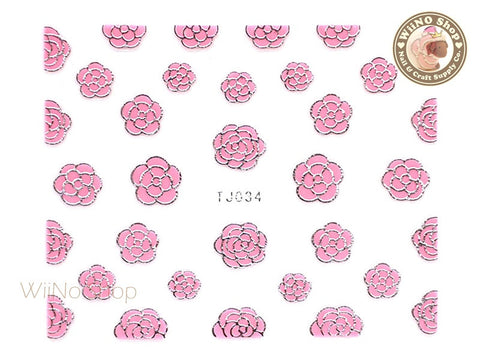 Silver Pink Camellia Flower Adhesive Nail Art Sticker - 1 pc (TJ034SP)