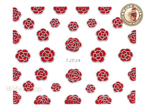 Silver Red Camellia Flower Adhesive Nail Art Sticker - 1 pc (TJ034SR)