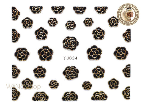 Gold Black Camellia Flower Adhesive Nail Art Sticker - 1 pc (TJ034GB)