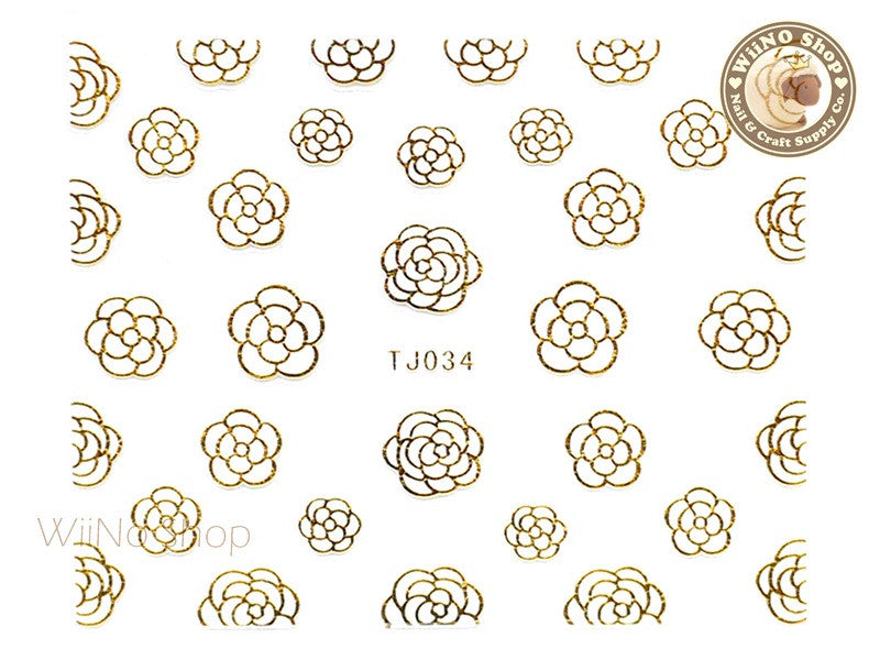 Gold White Camellia Flower Adhesive Nail Art Sticker - 1 pc (TJ034GW)
