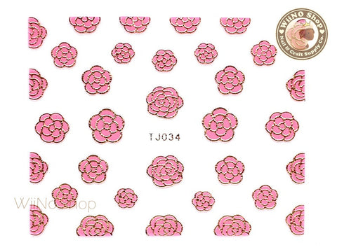 Gold Pink Camellia Flower Adhesive Nail Art Sticker - 1 pc (TJ034GP)
