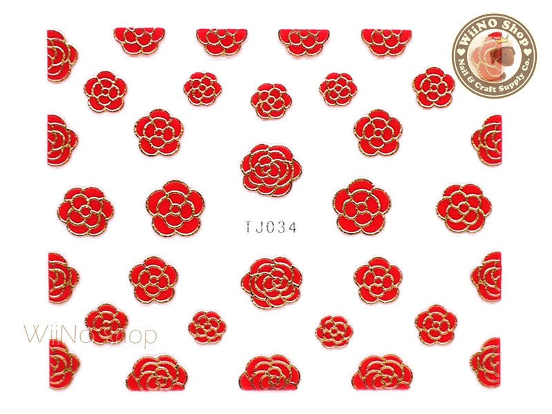 Gold Red Camellia Flower Adhesive Nail Art Sticker - 1 pc (TJ034GR)