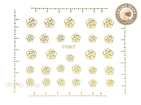 Camellia Flower Gold Adhesive Nail Sticker Nail Art - 1 pc (TY007G)