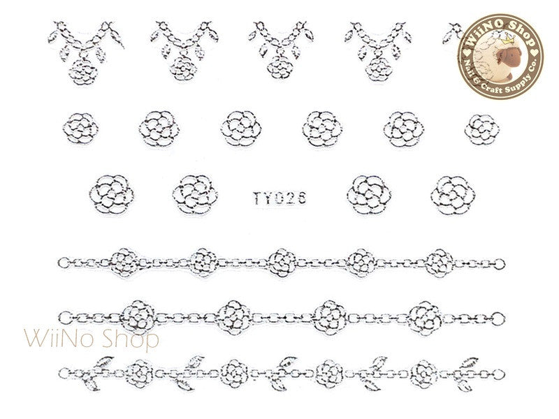 Silver Camellia Flower Chain Adhesive Nail Sticker Nail Art - 1 pc (TY026S)