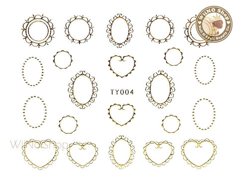 Border Frame Gold Nail Sticker Nail Art - 1 pc (TY004G)