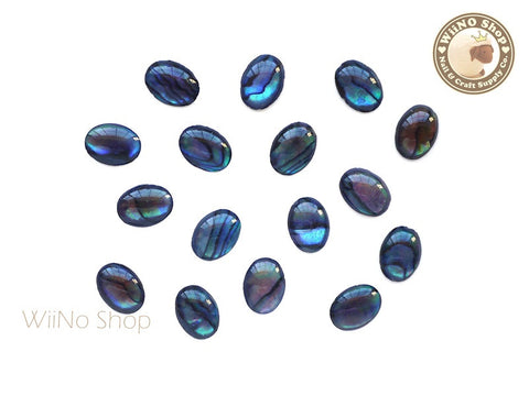6 x 8mm Blue Natural Seashell Oval Cabochon - 10 pcs