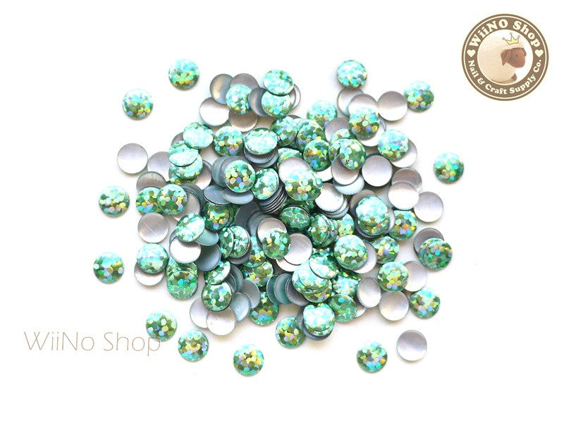 6mm Green Holographic Round Metal Studs - 50 pcs