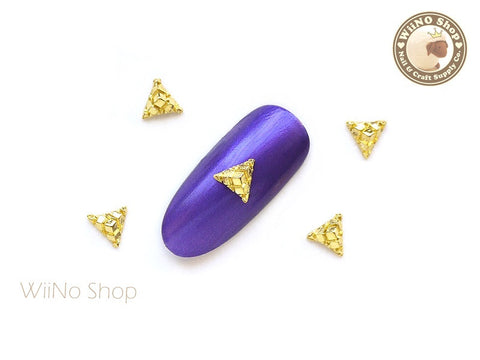 Gold Pyramid Block Nail Metal Charm Nail Art - 2 pcs