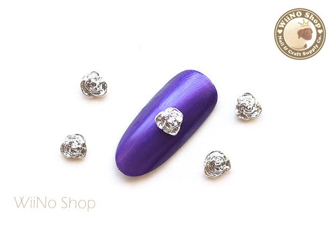 Silver Rose 5mm Nail Metal Charm Nail Art - 2 pcs