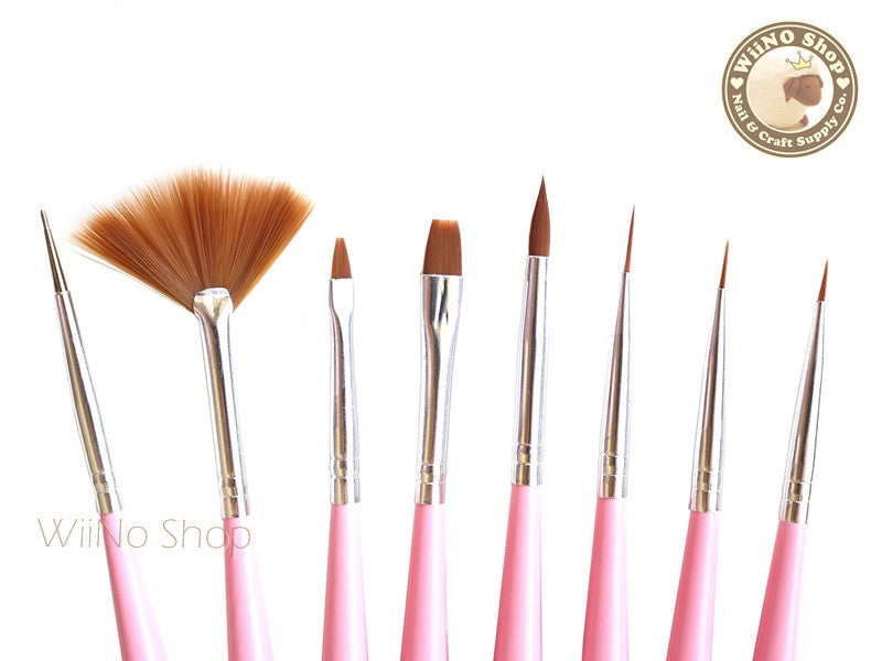 Nail Art Paint Brush Set with Dotting Tools - 1 set