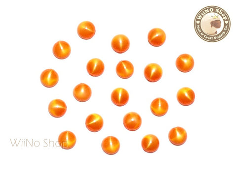5mm Shimmer Orange Half Round Flat Back Acrylic Cabochon Nail Art - 15 pcs