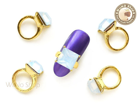 Square White Opal Gold Diamond Ring Nail Charm - 2 pcs (L)