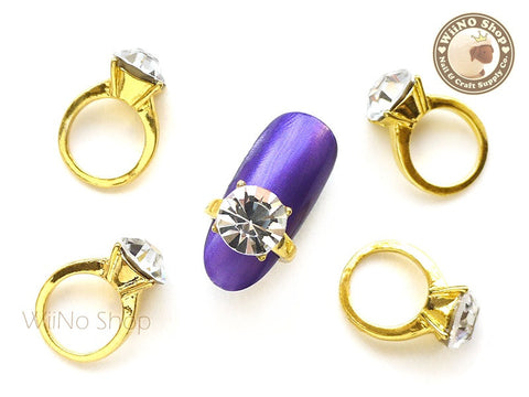 Round Gold Diamond Ring Nail Charm - 2 pcs (L)