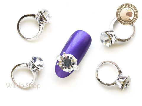 Round Silver Diamond Ring Nail Charm - 2 pcs (L)