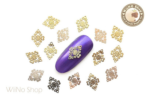 Gold Diamond Shaped Lace Pattern Ultra Thin Metal Decoration Nail Art - 25 pcs