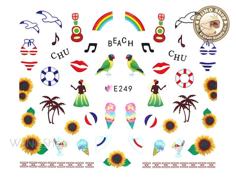 E249 Summer Hawaii Hula Nail Sticker Nail Art - 1 pc