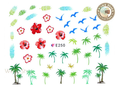 E250 Hibiscus Palm Tree Nail Sticker Nail Art - 1 pc