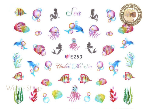 E253 Mermaid Jellyfish Dolphin Nail Sticker Nail Art - 1 pc