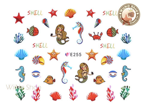 E255 Mermaid Sea World Nail Sticker Nail Art - 1 pc