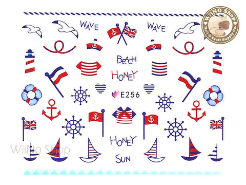 E256 Summer Sailor Nail Sticker Nail Art - 1 pc