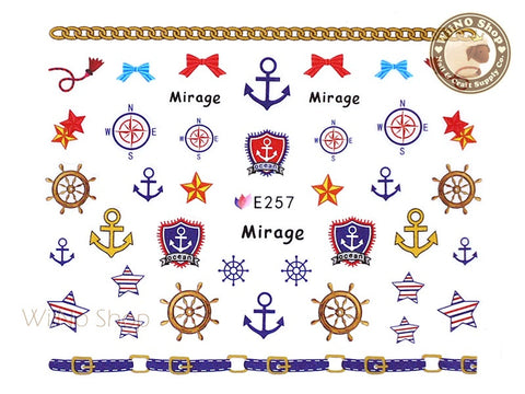 E257 Sailor Anchor Nail Sticker Nail Art - 1 pc
