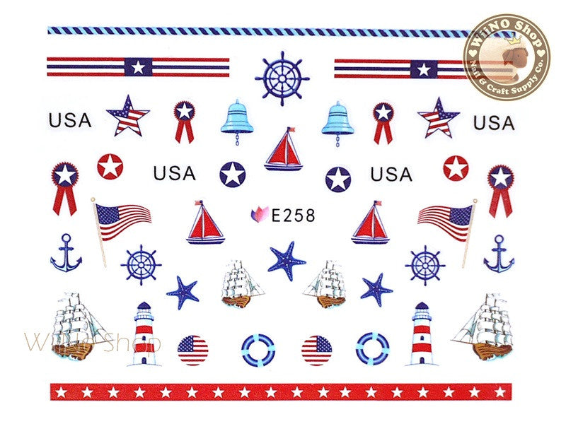 E258 Sailor Anchor Nail Sticker Nail Art - 1 pc