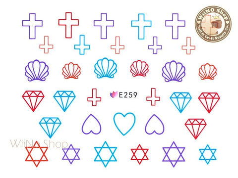 E259 Seashell Cross Diamond Nail Sticker Nail Art - 1 pc