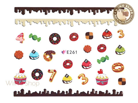 E261 Sweet Desserts Nail Sticker Nail Art - 1 pc