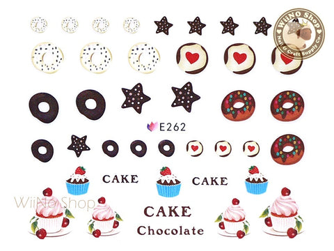 E262 Cupcak Donut Desserts Nail Sticker Nail Art - 1 pc