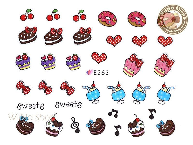 E263 Cute Sweet Desserts Nail Sticker Nail Art - 1 pc