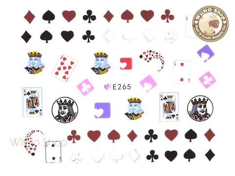 E265 Poker Cards Nail Sticker Nail Art - 1 pc
