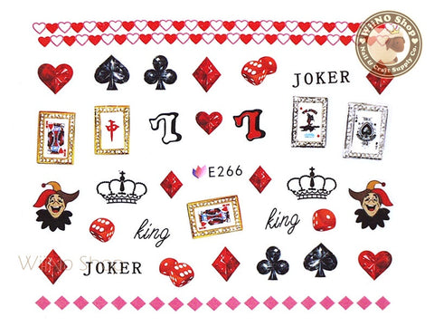 E266 Poker Night Nail Sticker Nail Art - 1 pc
