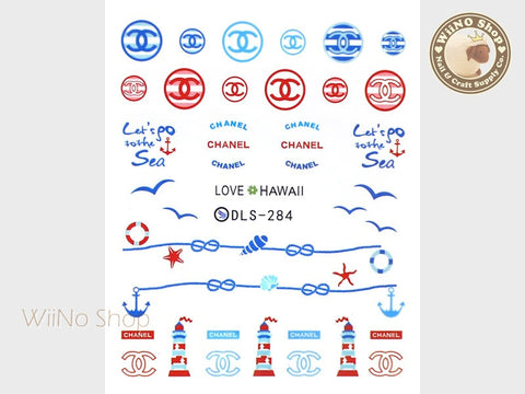 Coco Nautical Water Slide Nail Art Decals - 1pc (DLS-284)
