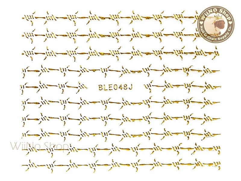 Gold Barbed Wire Adhesive Nail Sticker Nail Art - 1 pc (BLE048JG)