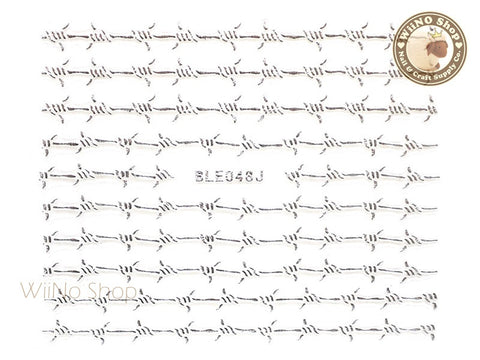 Silver Barbed Wire Adhesive Nail Sticker Nail Art - 1 pc (BLE048JS)