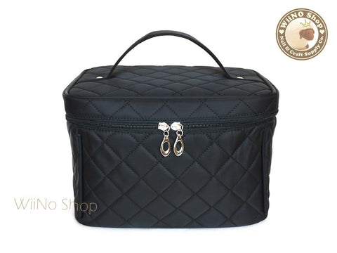 Black Quilted Nail Art Cosmetic Carry Pouch Bag