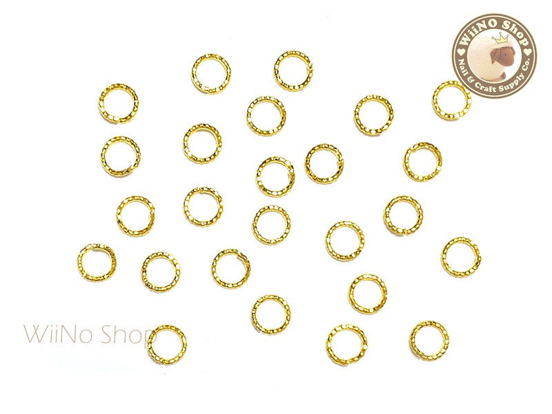 4mm Gold Twisted Cut-Out Ring Frame Nail Art Decoration - 15 pcs