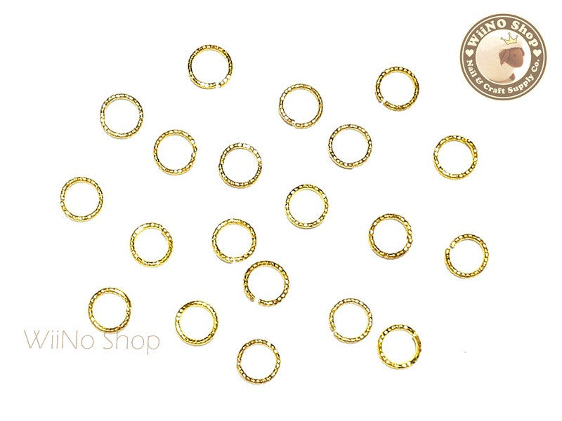 5mm Gold Twisted Cut-Out Ring Frame Nail Art Decoration - 15 pcs