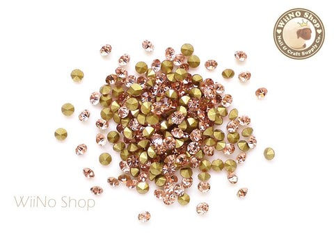 ss10 Peach Crystal Round Point Back- 50 pcs
