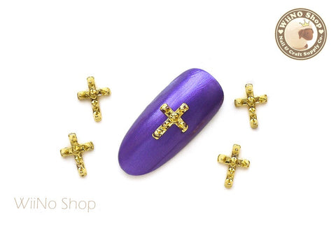 Gold Spike Cross Nail Art Metal Charm - 2 pcs