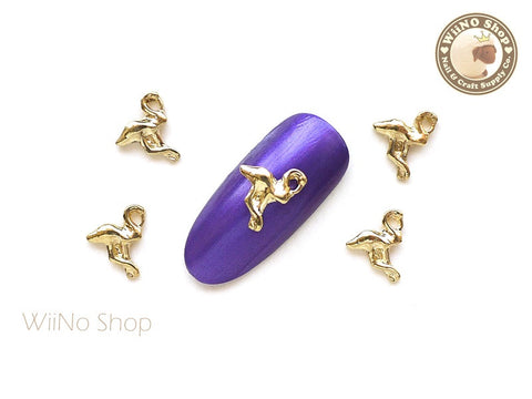 Gold Flamingo Nail Metal Charm - 2 pcs (FM01G)