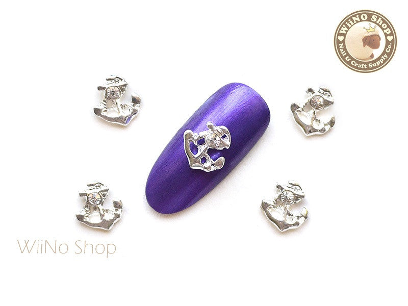 Silver Anchor Nail Metal Charm Nail Art - 2 pcs (CAN02S)